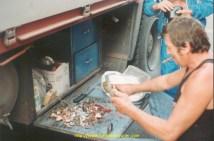 Dédé Gauer, sur le parking de la douane de Gorizia, encore en grève, prépare 10kg de grenouilles vivantes, tombées d'un camion, un vrai festin!