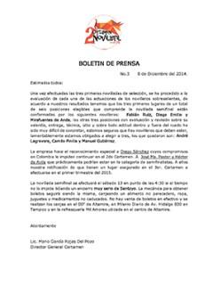 Boletín de Prensa  - Cartel Semifinal