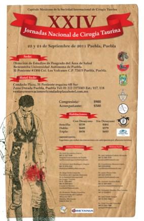 XXIV JORNADAS NACIONAL DE CIRUGÍA TAURINA (Puebla 2011)