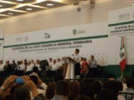 El señor Presidente Constitucional de los Estados Unidos Mexicanos, Licenciado Enrique Peña Nieto, en la clausura de la LXXXVII Asamblea General Ordinaria de la Confederación Nacional de Organizaciones Ganaderas