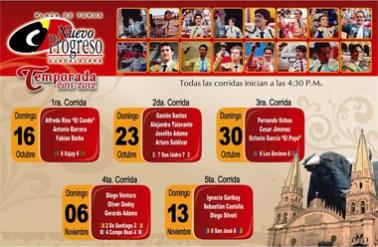 """Carteles Temporada 2011 – 2012 (Plaza de Toros """"Nuevo Progreso"""")"""