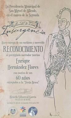 Homenaje y Reconocimiento otorgado Enrique Hernández Flores (1928-2016) Q.E.P.D.