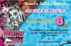 Invitaciones monster high 1
