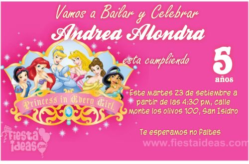invitacion princesas disney