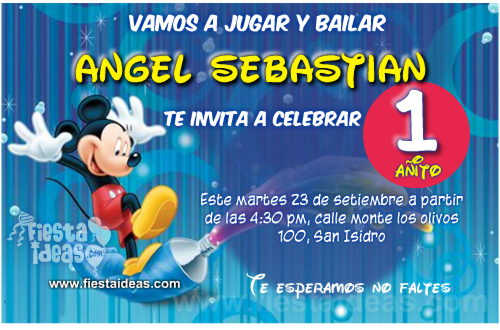 Invitaciones de Mickey Mouse pintando de colores