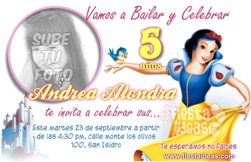 Invitaciones Blanca Nieves personalizad con foto de tu niña