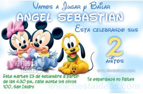 Invitaciones de Baby Disney con Minnie Mickey Pluto bebes