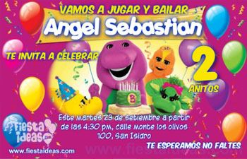 invitaciones de barney y sus amigos con globos para imprimir