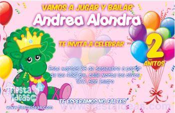 invitaciones de Baby Bop con Barney para personalizar