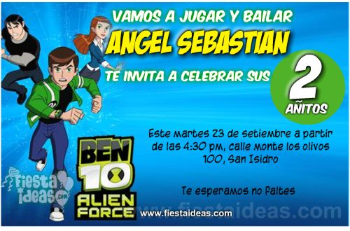 invitaciones ben10 alien force