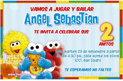 invitaciones de Elmo Bebe Plaza Sesamo