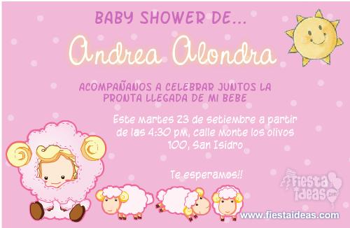 Invitaciones Con Ovejas De Fondo Rosa Para Niñas. Invitaciones_babyshower_2