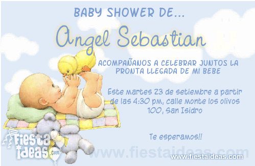 invitaciones de baby shower con bebe y peluches