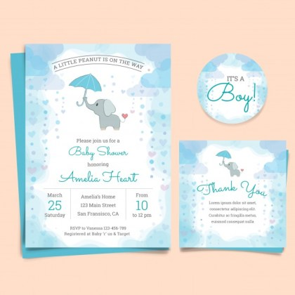 tarjeta con elefante color azul