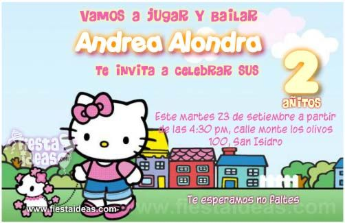 Invitaciones de cumpleaños de Hello kitty 3 gratis