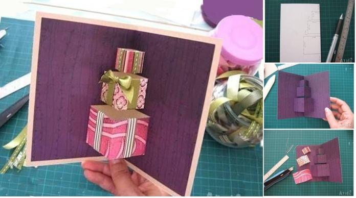 Tarjetas navideñas 3D con cajas de regalos