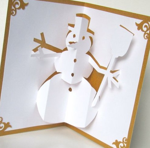tarjeta de navidad 3D con hombre de nieve