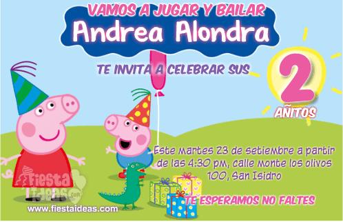 invitaciones de Peppa pig celebrando con sus amigos