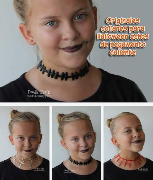 Originales collares para Halloween hechos con pegamento caliente