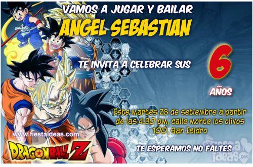 Invitaciones de Dragon Ball Z Goku personalizadas para imprimir