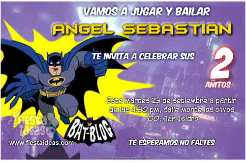 invitacion de batman comic