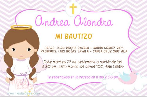invitaciones de bautizo para niña rosada