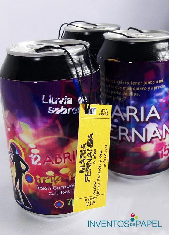 invitaciones con latas de bebidas