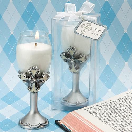 Centros de mesa para bautizo elegantes con velas y copas
