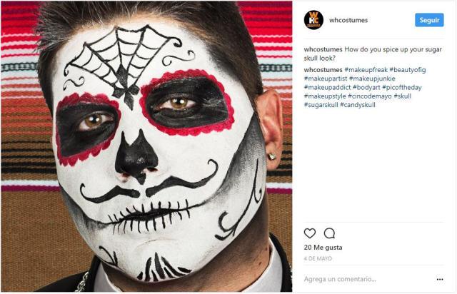 Maquillajes para halloween de calavera Catrina para hombres