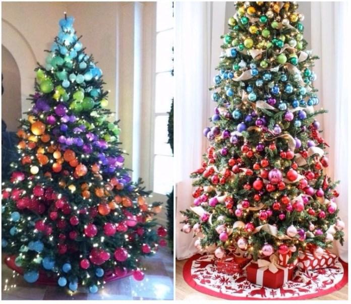 arboles de navidad de colores arcoiries