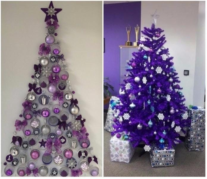 Arbol de navidad decorado originales tendencias 2018 - Arbol de navidad morado ...