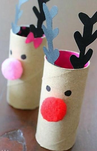 manualidades faciles de renos con conos de papel de baño