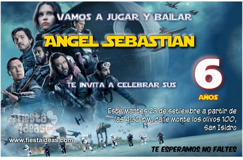 Invitaciones de star wars Rogue One