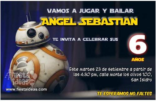 tarjetas de cumpleaños de star wars BB8 para imprimir gratis