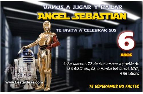 invitaciones editables de star wars R2-D2 y C-3PO