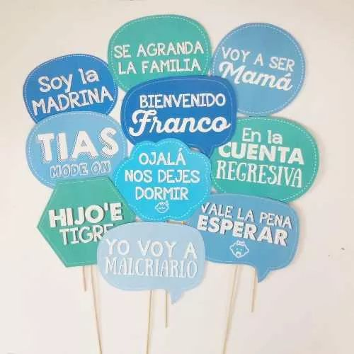 frases para photo booth y props de baby shower niño