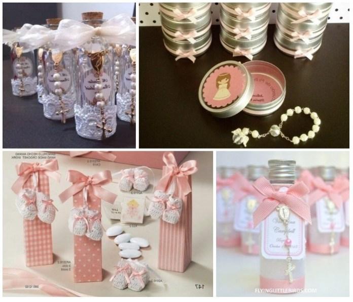 Recuerdos para Bautizo de Niña Originales con Velas rosa decoradas.
