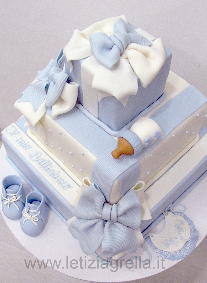 Pasteles de baby shower para niño colores celeste