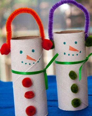 adornos para navidad con Muñecos navideños hechos con rollos de papel higiénico
