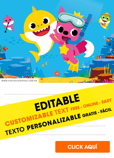 6 Free Baby Shark Pinkfong Birthday Invitations For Edit Customize Print Or Send Via Whatsapp Fiestas Con Ideas