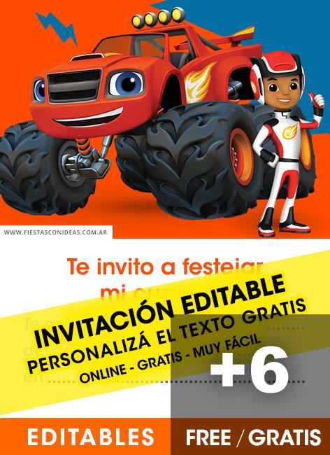 6 Free Blaze And The Monster Machines Birthday Invitations For Edit Customize Print Or Send Via Whatsapp Fiestas Con Ideas