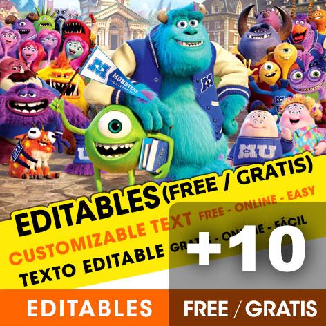 12 Free Monster University Birthday Invitations For Edit Customize Print Or Send Via Whatsapp Fiestas Con Ideas