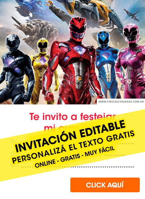 6 Invitaciones De Power Rangers Gratis Free Para