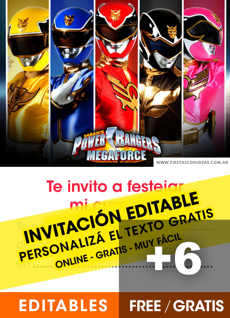 6 Free Power Rangers Birthday Invitations For Edit Customize Print Or Send Via Whatsapp Fiestas Con Ideas