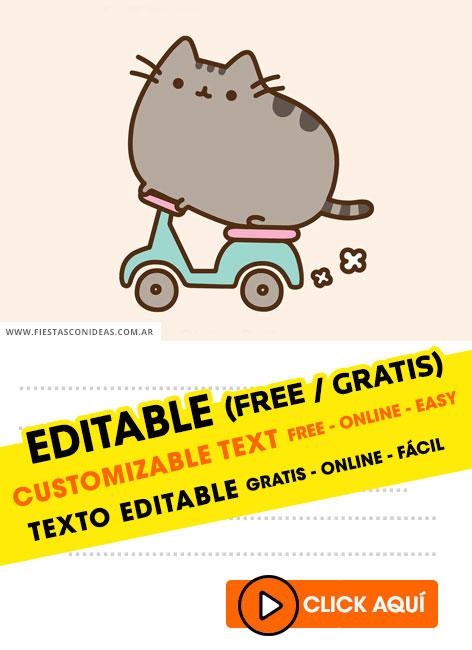 free pusheen cat birthday invitations
