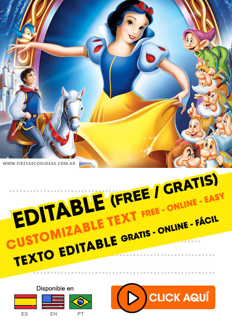 9 Free Snow White Birthday Invitations For Edit Customize Print Or Send Via Whatsapp Fiestas Con Ideas
