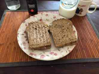 Tosti's: - brood van Bakkerij vd Berg - ham van Keurslager Poleij - kaas van Landwinkel De Knapenvelder - melk van Kaas- en Zuivelboerderij van Winden - honingtomatenketchup van Looye Kwekers — bij Fietsen voor m'n eten.