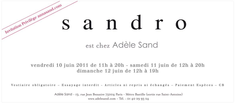 Vente privée Sandro chez Adèle Sand   110610 sandro