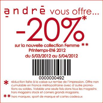 20% de réduction chez André   andre 20