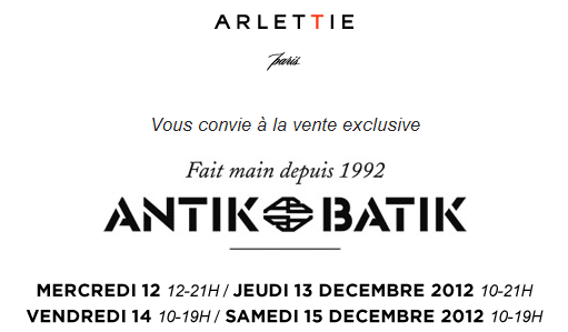 Ventes presse Antik Batik chez Arlettie   Automne 2012   Antik batik